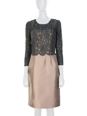 Lace and Silk Pencil Cocktail Dress by Dolce e Gabbana - Le Dressing Monaco