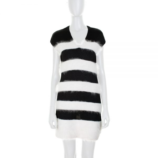 Striped Angora Black And White Dress by Balenciaga - Le Dressing Monaco