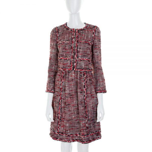 Red and Black Tweed Mini Dress by Chanel - Le Dressing Monaco