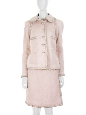 Pink Mohair Skirt Suit Foil Details by Chanel - Le Dressing Monaco
