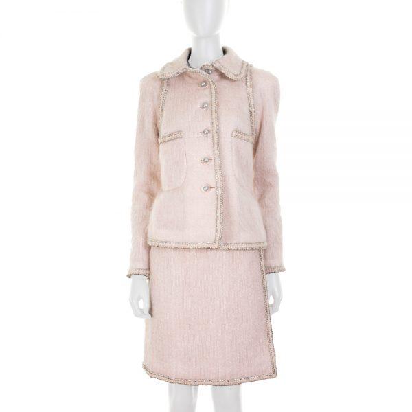 Pink Mohair Skirt Suit Foil Details by Chanel - Le Dressing Monaco