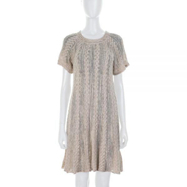 Short Sleeved Off White Alpaca Dress by Chanel - Le Dressing Monaco