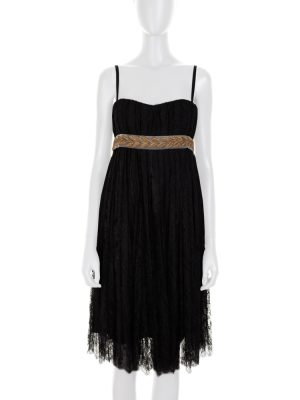 Black Lace Dress Gold Braided Belt by Dolce e Gabbana - Le Dressing Monaco