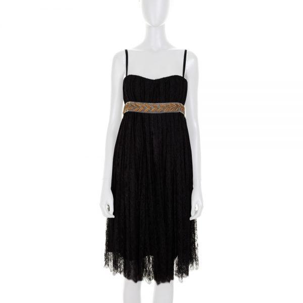 Black Lace Dress Gold Braided Belt by Dolce e Gabbana - Le Dressing Monaco