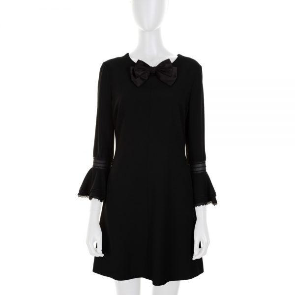 Black Mini Dress With a Bow by Saint Laurent - Le Dressing Monaco
