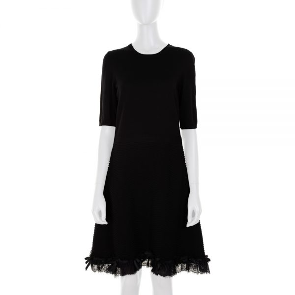 Short Sleeved Wool Dress Lace Details by Red Valentino - Le Dressing Monaco