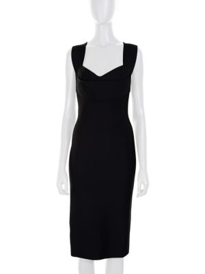 Black Pencil Dress Crossed Back by Roland Mouret - Le Dressing Monaco