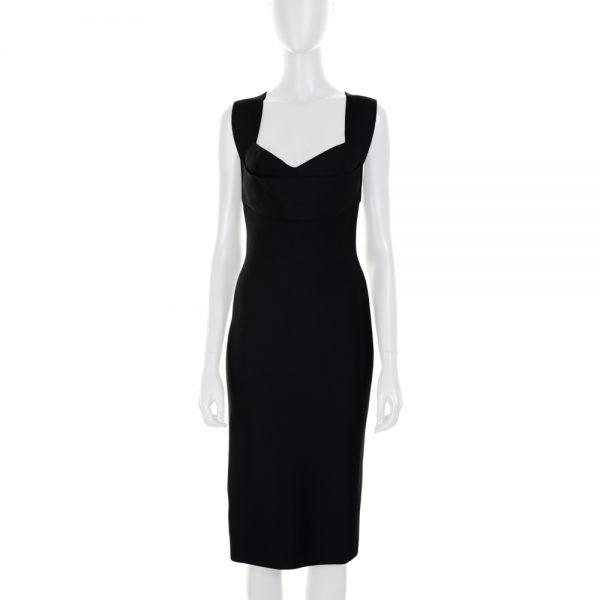 Black Pencil Dress Crossed Back by Roland Mouret - Le Dressing Monaco