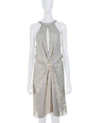 Strass Silk Dress Open Cleavage by Roberto Cavalli - Le Dressing Monaco