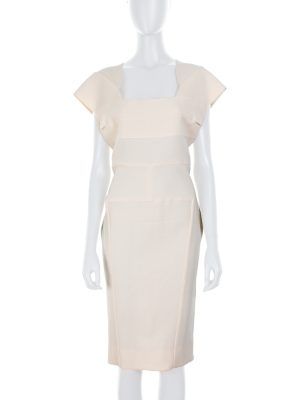 Off-White Wool Pencil Dress by Roland Mouret - Le Dressing Monaco