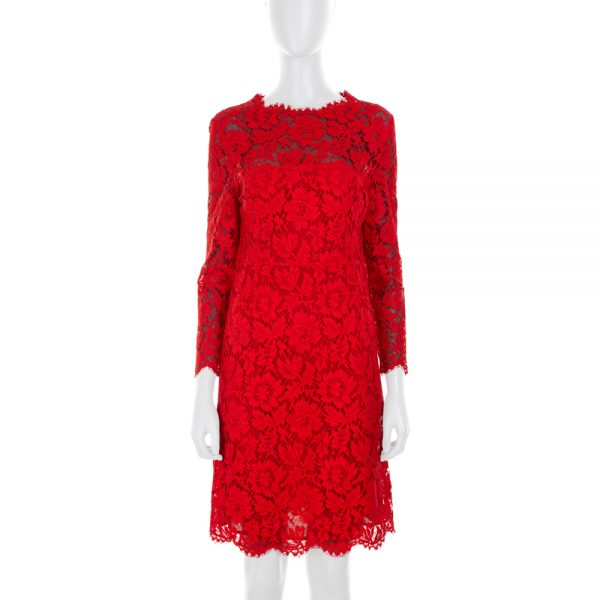 Long Sleeves Red Straight Lace Dress by Valentino - Le Dressing Monaco