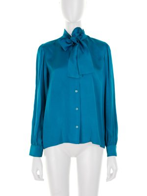Vintage Tie a Bow Blouse by Rive Gauche Saint Laurent - Le Dressing Monaco