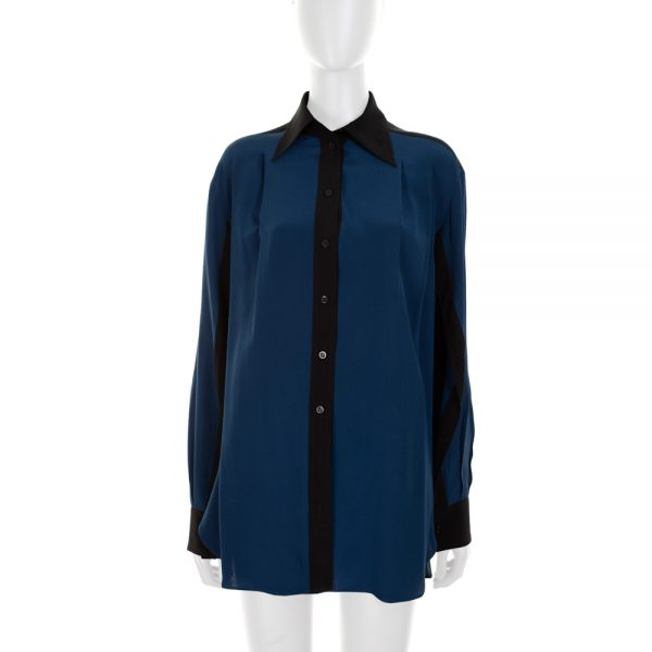 Blue and Black Open Sleeves Silk Shirt by Givenchy - Le Dressing Monaco