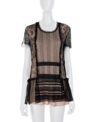 Black and Nude Lace T-Shirt by Valentino - Le Dressing Monaco