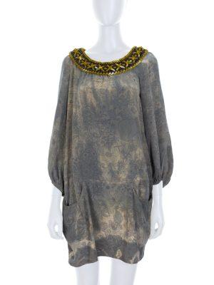 Ethnic Style Metal Rope Collar Silk Dress by Balmain - Le Dressing Monaco