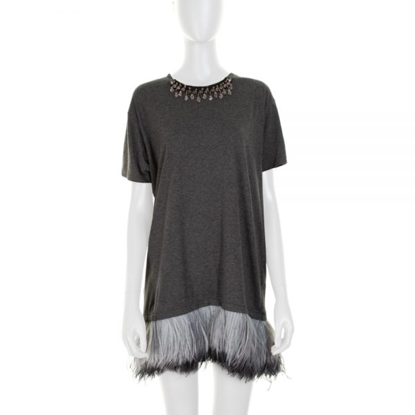 Feather and Strass Embellished T-Shirt by Lanvin - Le Dressing Monaco