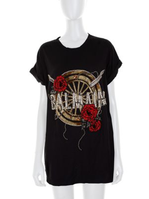 Oversize Strass Embroidered Logo T-Shirt by Balmain - Le Dressing Monaco