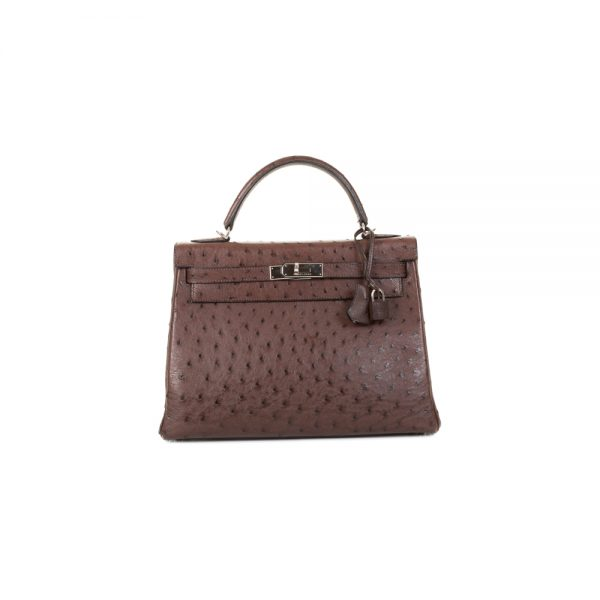Kelly 32 Tobacco Ostrich Leather by Hermès - Le Dressing Monaco