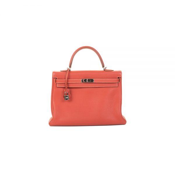 Kelly 35 Sanguine Togo Leather by Hermès - Le Dressing Monaco