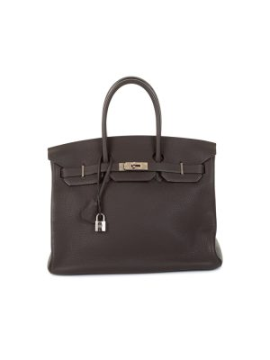 Birkin 35 Ebene Taurillon Clémence Leather by Hermès - Le Dressing Monaco