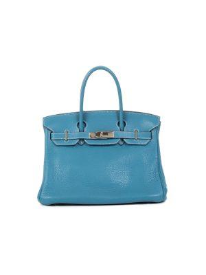 Birkin 30 Blue Jean Taurillon Clémence by Hermès - Le Dressing Monaco