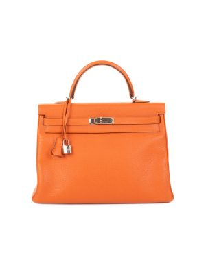 Kelly 35 Orange Togo Leather by Hermès - Le Dressing Monaco