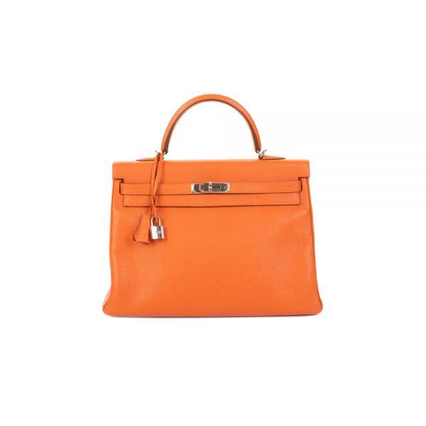 Kelly 35 Orange Togo Leather by Hermès - Le Dressing Monaco