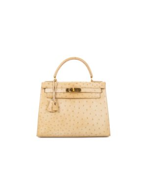 Kelly Sellier 28 Beige Ostrich Leather by Hermès - Le Dressing Monaco