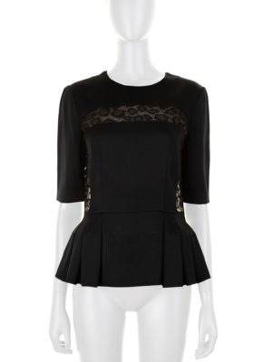 Black Peplum Top Lace Incrustations by Alexander McQueen - Le Dressing Monaco