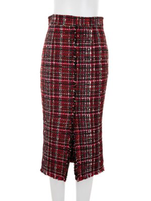 Red Tweed Pencil Skirt by Alexander McQueen - Le Dressing Monaco