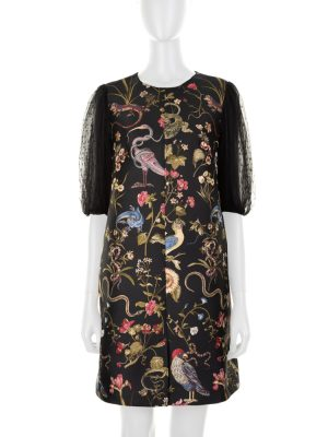 Flora Fauna Brocade Dress Tulle Sleeves by Red Valentino - Le Dressing Monaco