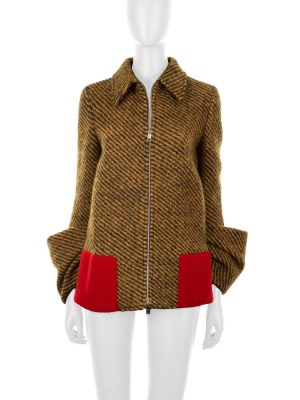 Mustard Wool Jacket Removable Arm Detail by Prada - Le Dressing Monaco