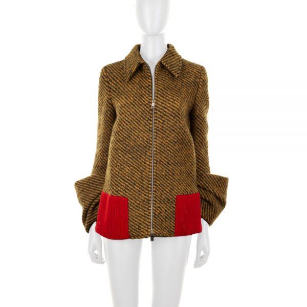 Mustard Wool Jacket Removable Arm Detail by Prada - Le Dressing Monaco