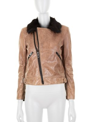 Brown Leather Jacket Fur Collar by Balenciaga - Le Dressing Monaco