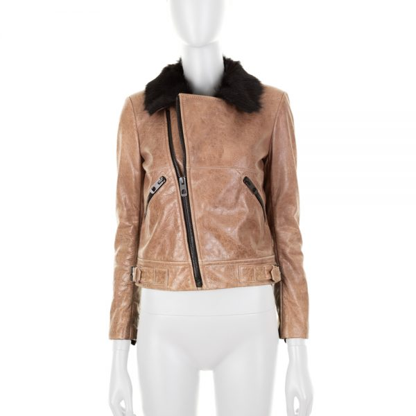 Brown Leather Jacket Fur Collar by Balenciaga - Le Dressing Monaco