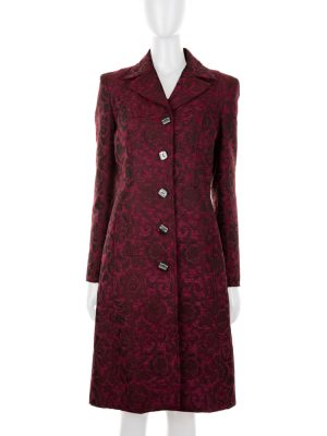 Burgundy Flower Pattern Coat by Dolce e Gabbana - Le Dressing Monaco