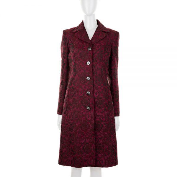 Burgundy Flower Pattern Coat by Dolce e Gabbana - Le Dressing Monaco