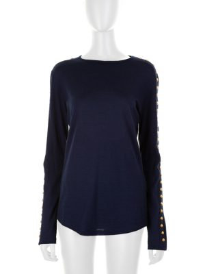 Blue Long Sleeved Studded Wool Top by Balmain - Le Dressing Monaco