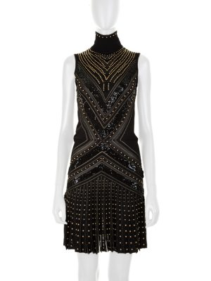 Black Perforated and Studded Party Dress by Roberto Cavalli - Le Dressing Monaco
