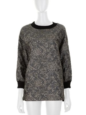 Silver Floral Jumper by Dolce e Gabbana - Le Dressing Monaco