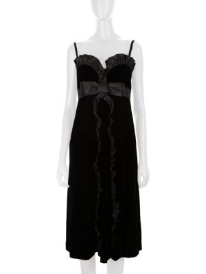 Bow Front Strapless Silk Trim Velvet Dress by Miu Miu - Le Dressing Monaco