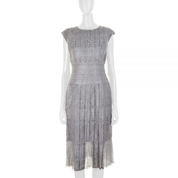 Silver Pleated Lace Cocktail Dress by Chanel - Le Dressing Monaco
