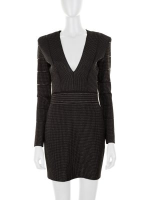 Black and Silver Knit Mini Dress by Balmain - Le Dressing Monaco