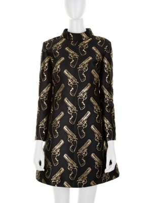 Gold Revolvers Black Mini Dress by Saint Laurent - Le Dressing Monaco