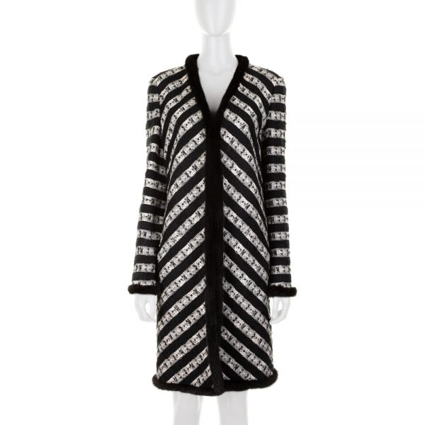 Black White Striped Fur Trim Bouclé Coat by Chanel - Le Dressing Monaco
