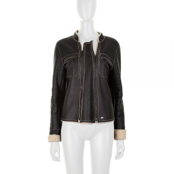 Brown Double Zip Sherling Jacket by Chanel - Le Dressing Monaco