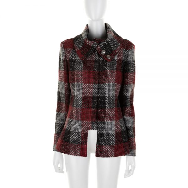 Red and Black Square Pattern Jacket by Chanel - Le Dressing Monaco