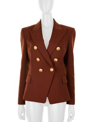 Brown Shoulder Padded Wool Blazer by Balmain - Le Dressing Monaco