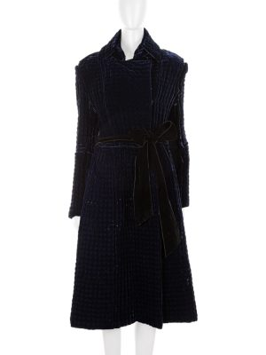 Deep Blue Thick Quilted Velvet Coat by Yves Saint Laurent - Le Dressing Monaco