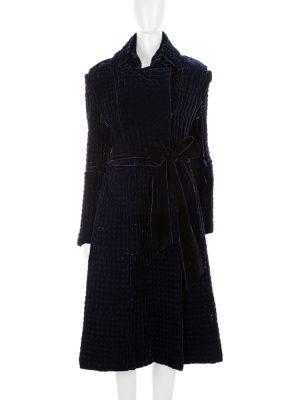 Deep Blue Thick Quilted Velvet Coat by Yves Saint Laurent - Le Dressing Monaco